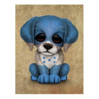 Cute Patriotic Honduran Flag Puppy Dog, Rough Postcard
