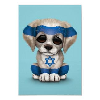 "Cute Patriotic Israeli Flag Puppy Dog, Blue 3.5"" X 5"" Invitation Card"