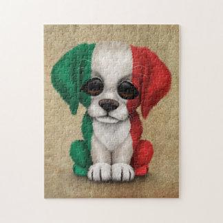 Cute Patriotic Italian Flag Puppy Dog, Rough Jigsaw Puzzle