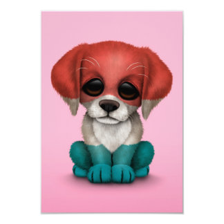 Cute Patriotic Luxembourg Flag Puppy Dog, Pink Card