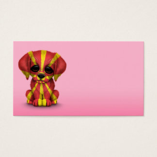 Cute Patriotic Macedonian Flag Puppy Dog, Pink Business Card