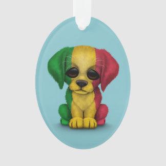 Cute Patriotic Mali Flag Puppy Dog, Blue Ornament