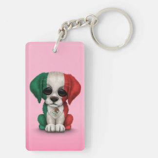 Cute Patriotic Mexican Flag Puppy Dog, Pink Keychain