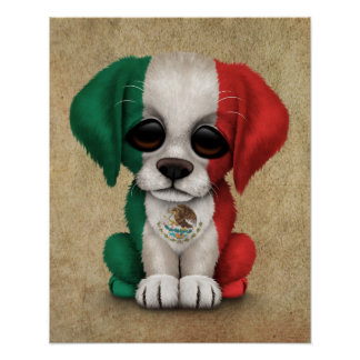 Cute Patriotic Mexican Flag Puppy Dog, Rough Poster