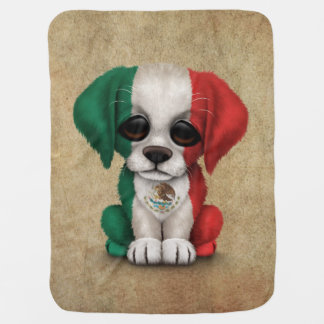 Cute Patriotic Mexican Flag Puppy Dog, Rough Receiving Blankets