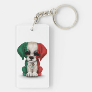Cute Patriotic Mexican Flag Puppy Dog, White Acrylic Keychain