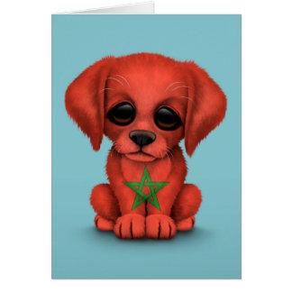 Cute Patriotic Moroccan Flag Puppy Dog, Blue Card