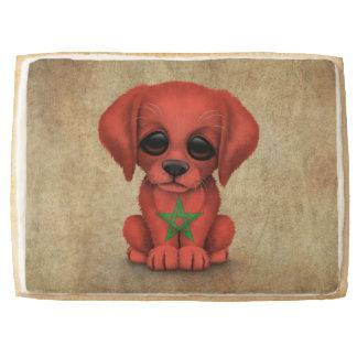 Cute Patriotic Moroccan Flag Puppy Dog, Rough Jumbo Shortbread Cookie