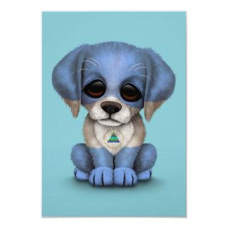 Cute Patriotic Nicaraguan Flag Puppy Dog, Blue Card