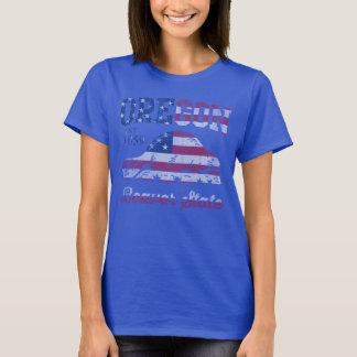 Cute Patriotic Oregon Beaver State American Flag T-Shirt