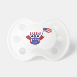 Cute Patriotic Owl with American Flag Pacifier