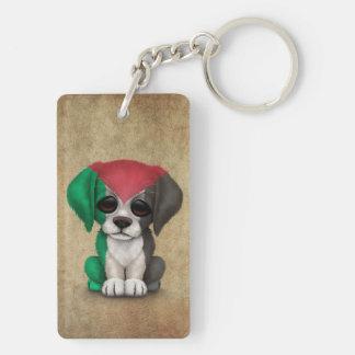Cute Patriotic Palestinian Flag Puppy Dog, Rough Double-Sided Rectangular Acrylic Keychain