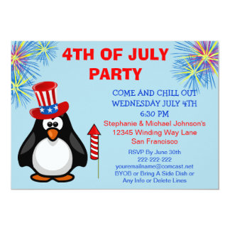 Cute Patriotic Penguin Fireworks 4th of July Party Card