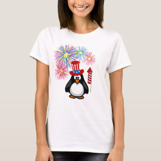 Cute Patriotic Penguin Fireworks 4th of July T-Shirt
