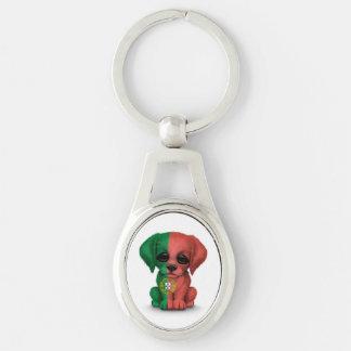 Cute Patriotic Portuguese Flag Puppy Dog, White Keychain
