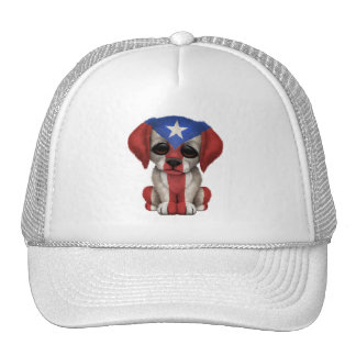 Cute Patriotic Puerto Rico Flag Puppy Dog Trucker Hat