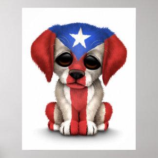 Cute Patriotic Puerto Rico Flag Puppy Dog, White Poster