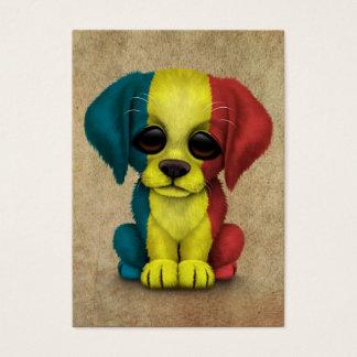 Cute Patriotic Romanian Flag Puppy Dog, Rough Business Card