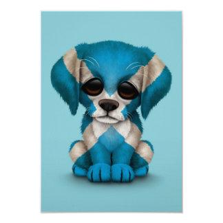 Cute Patriotic Scottish Flag Puppy Dog, Blue Card