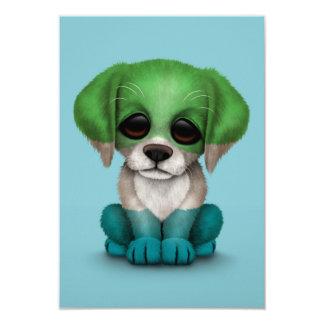 Cute Patriotic Sierra Leone Flag Puppy Dog, Blue Card