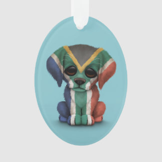 Cute Patriotic South African Flag Puppy Dog, Blue
