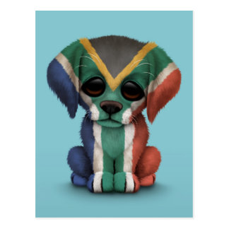 Cute Patriotic South African Flag Puppy Dog, Blue Postcard