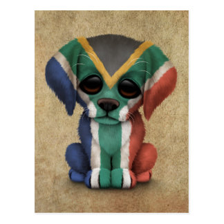 Cute Patriotic South African Flag Puppy Dog, Rough Postcard