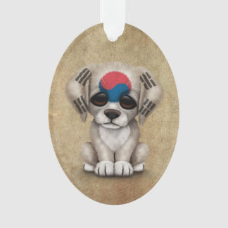 Cute Patriotic South Korean Flag Puppy Dog, Rough Ornament