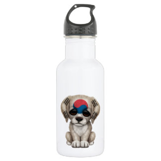Cute Patriotic South Korean Flag Puppy Dog Stainless Steel Water Bottle