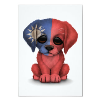 Cute Patriotic Taiwanese Flag Puppy Dog, White 3.5x5 Paper Invitation Card