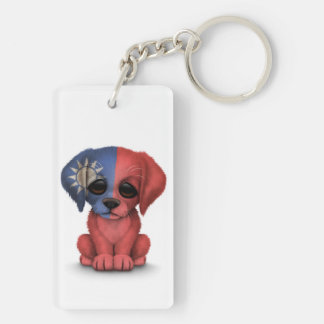 Cute Patriotic Taiwanese Flag Puppy Dog, White Keychain