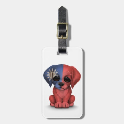 Cute Patriotic Taiwanese Flag Puppy Dog, White Luggage Tag