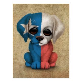 Cute Patriotic Texas Flag Puppy Dog, Rough Postcard