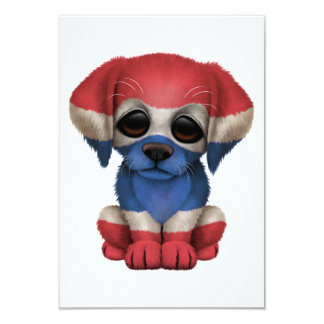 "Cute Patriotic Thai Flag Puppy Dog 3.5"" X 5"" Invitation Card"