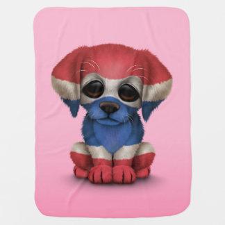 Cute Patriotic Thai Flag Puppy Dog, Pink Stroller Blanket