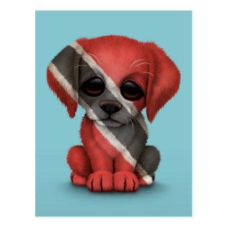 Cute Patriotic Trinidad and Tobago Puppy, Blue Postcard
