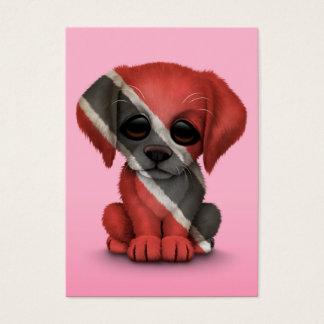 Cute Patriotic Trinidad and Tobago Puppy, Pink Business Card
