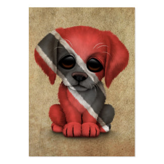 Cute Patriotic Trinidad and Tobago Puppy, Rough Large Business Cards (Pack Of 100)