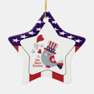 Cute Patriotic Tweet - God Bless America Ceramic Ornament