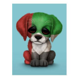 Cute Patriotic United Arab Emirates Puppy, Blue Postcard