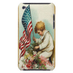Cute Patriotic Vintage Child & Flag iPod Case-Mate Case