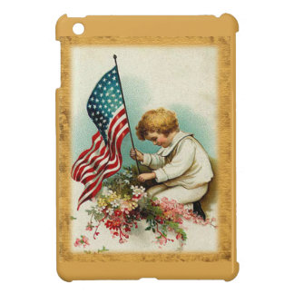 Cute Patriotic Vintage Child & Flag Cover For The iPad Mini