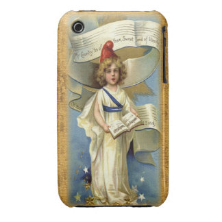 Cute Patriotic Vintage Child Singer iPhone 3 Cover