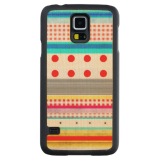 Cute Pattern Gingham Striped Fun Carved® Maple Galaxy S5 Slim Case