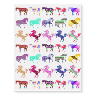 Cute Pattern Horses Temporary Tattoos