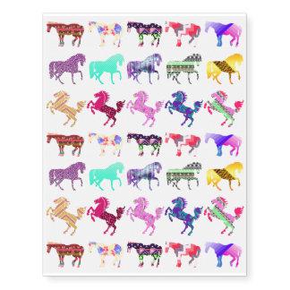Cute Pattern Horses Temporary Tattoos