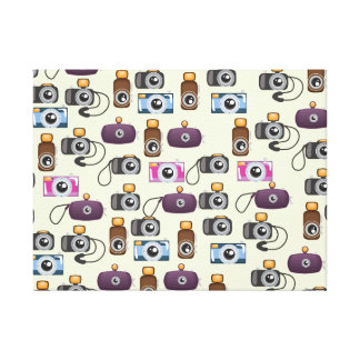 Cute Pattern of Cameras Canvas Print
