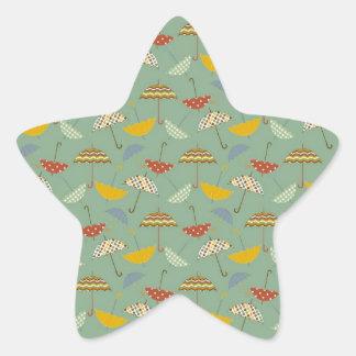 Cute Pattern Umbrellas Spring Rain Design Star Stickers