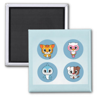Cute Pattern with Cartoon Animals Magnet