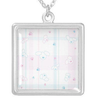 Cute pattern with dogs silver plated necklace